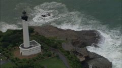 AERIAL France-Biarritz Lighthouse Stock Footage