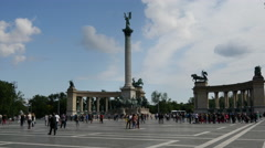 Crowd at Heroes square in Budapest Stock Footage