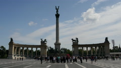 Time lapse crowd at Heroes square in Budapest Stock Footage