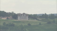 AERIAL France-Chateau De Monbazillac And Vineyards Stock Footage