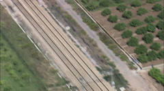 AERIAL Spain-Express Train At Speed Stock Footage