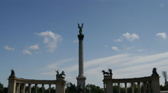 Statues at Heroes square in Budapest Stock Footage