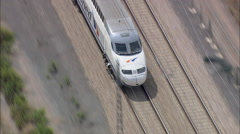 AERIAL Spain-Train Approaching Pucol Stock Footage