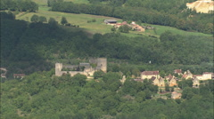 AERIAL France-Castle Of Kings Ducs Stock Footage