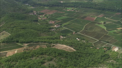 AERIAL France-Vinyards On Banks Of River Lot Stock Footage