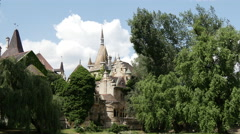 Vajdahunyad Castle in Budapest Hungary Stock Footage