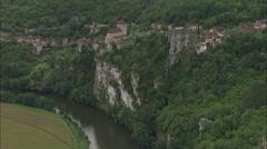 AERIAL France-Saint-Cirq-Lapopie Stock Footage