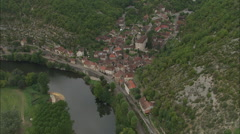 AERIAL France-Larnagol And Water Mill Stock Footage