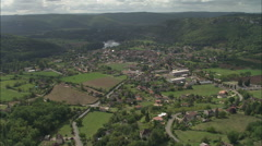 AERIAL France-Lot River And Valley Stock Footage