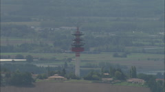 AERIAL France-Communications Tower Stock Footage