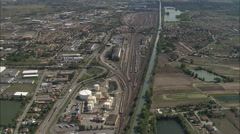 AERIAL France-Marshalling Yard Stock Footage