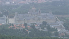 AERIAL Spain-The Escorial Palace In Misty Weather - stock footage