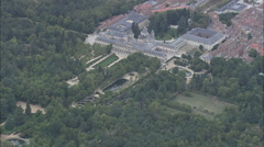 AERIAL Spain-Approaching The Royal Palace Of La Granja Of San Ildefonso Stock Footage