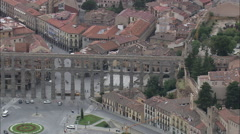 AERIAL Spain-Aquaduct Of Segovia Stock Footage