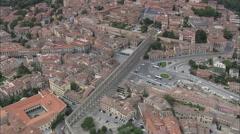 AERIAL Spain-Aquaduct Of Segovia Stock Footage