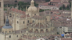 AERIAL Spain-Rising Over Segovia Cathedral Stock Footage