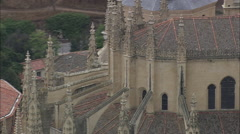 AERIAL Spain-Segovia Cathedral Stock Footage