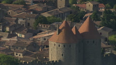 AERIAL France-Carcassonne Castle - stock footage
