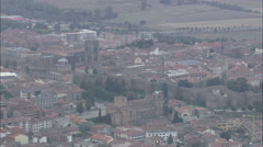 AERIAL Spain-Avila Cathedral Stock Footage