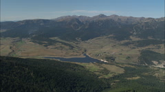 AERIAL France-Puyvalador And Puyvalador Lake Stock Footage