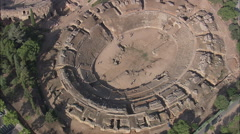 Stock Video Footage of AERIAL Spain-Roman Amphitheatre