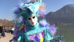 Costumed Venetian Carnival of Annecy, France in the French Alps Stock Footage