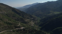 AERIAL France-N116 Through Valley Stock Footage