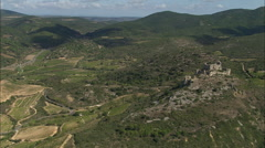 AERIAL France-Flight Round Chateau D'Aguilar Stock Footage