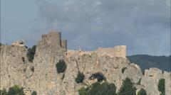 AERIAL France-Peyrepertuse Castle Stock Footage