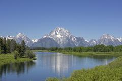 Stock Photo of View of Grand Teton National Park from Oxbow Bend Wyoming United States North