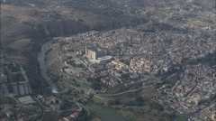 AERIAL Spain-Alcazar Of Toledo Stock Footage