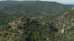 AERIAL France-Termes Castle Stock Footage
