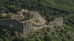 AERIAL France-Termes Castle Stock Footage