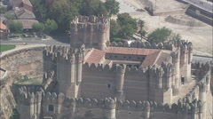 AERIAL Spain-Over The Top Of Coca Castle - stock footage