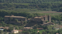 AERIAL France-Canal Du Midi Passing Argens-Minervois Stock Footage