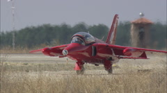 AERIAL Spain-Two Jet Trainers Landing Stock Footage