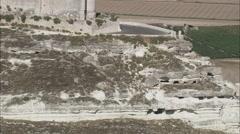 AERIAL Spain-Flight Along Escarpment And Dirt Road Stock Footage