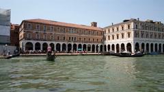 Gondolas in front of Campo Erberia, Venice Stock Footage