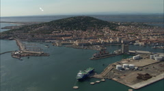 AERIAL France-Sete Harbour And Old Town Stock Footage
