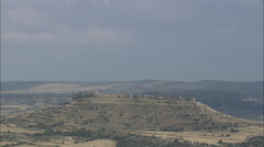 AERIAL Spain-Approaching Gormaz Castle Stock Footage