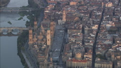 AERIAL Spain-Basilica Of Our Lady Of Pilar Stock Footage