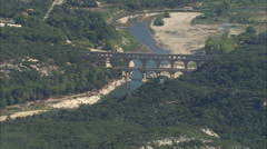 AERIAL France-Flight Past The Pont Du Gard Stock Footage