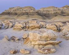 Rock formations in the Bisti Wilderness Farmington New Mexico United States - stock photo