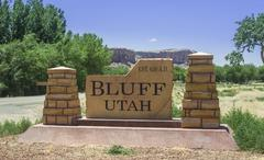 Stock Photo of Place name sign Bluff Utah United States North America