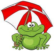 Cartoon frog with umbrella Stock Illustration
