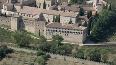AERIAL Spain-Poblet Monastery Stock Footage