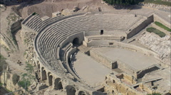 Stock Video Footage of AERIAL Spain-Tarragona Roman Amphitheatre
