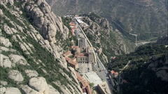 AERIAL Spain-Over The Top Of Santa Maria De Montserrat Abbey Stock Footage
