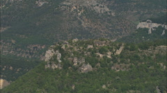 AERIAL France-Houses On Rocky Outcrop In Gorges Du Tarn Stock Footage