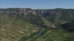 AERIAL France-Mostuejouis And Gorges Du Tarn Stock Footage